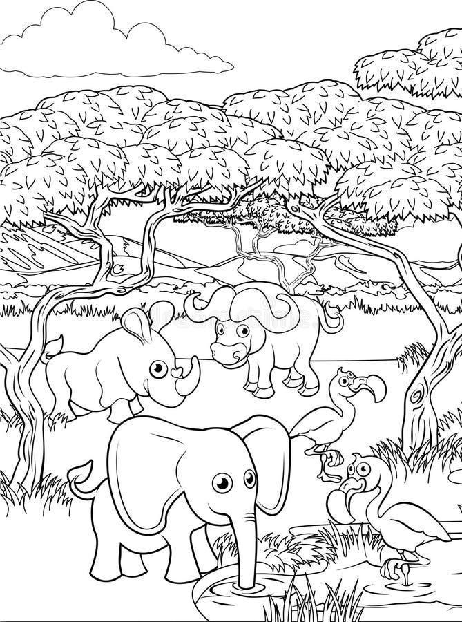 Safari Cartoon Animal Background Landscape-Scène stock illustratie