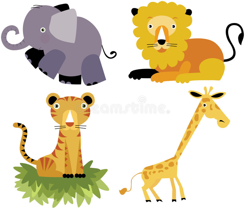 Safari cartoon animal vector set royalty free stock images