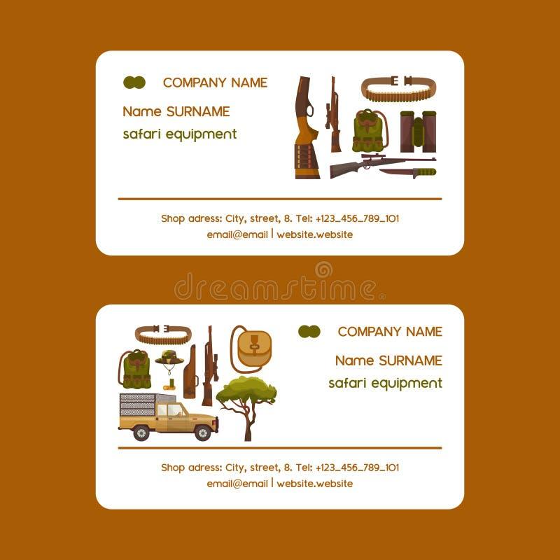Safari chassant l'ensemble d'équipement d'illustration de vecteur de cartes de visite professionnelle de visite Camouflez le chap illustration stock
