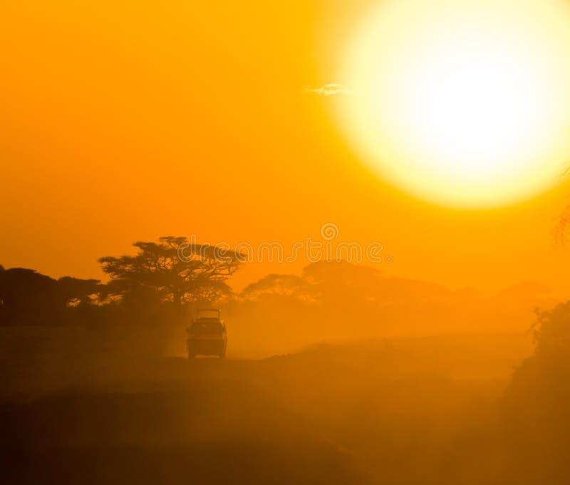 Safari dżipa jeżdżenie przez sawanny zdjęcia stock