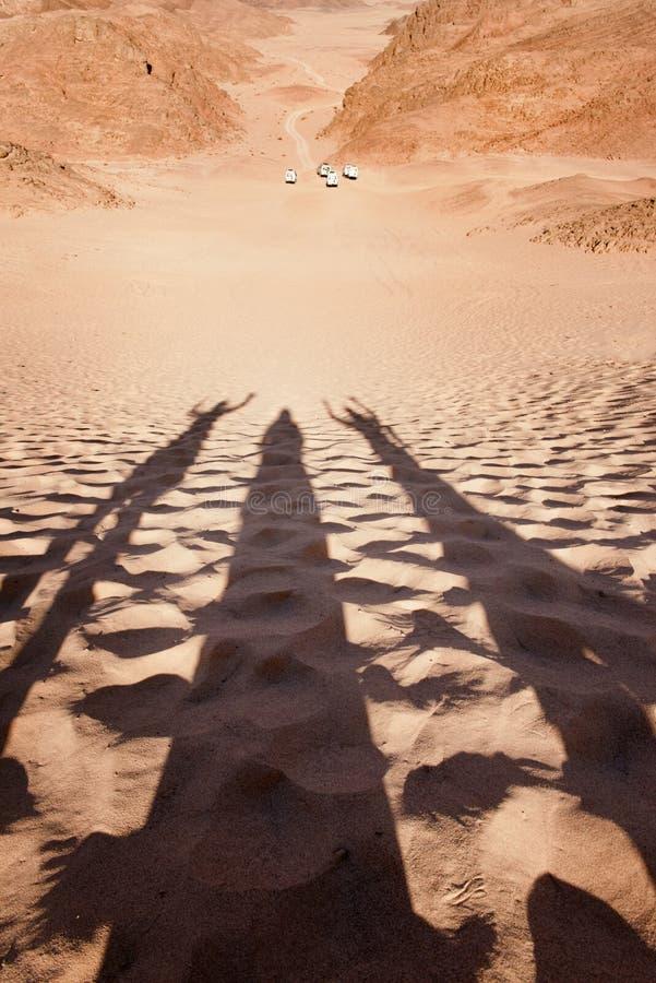 Safari de jeep au désert et aux ombres humaines sur le sable images stock