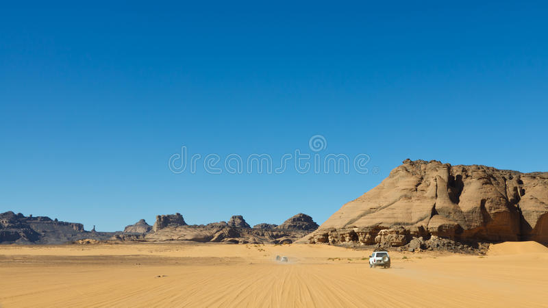 Safari del desierto de Sáhara - Akakus, Sáhara, Libia imagen de archivo libre de regalías