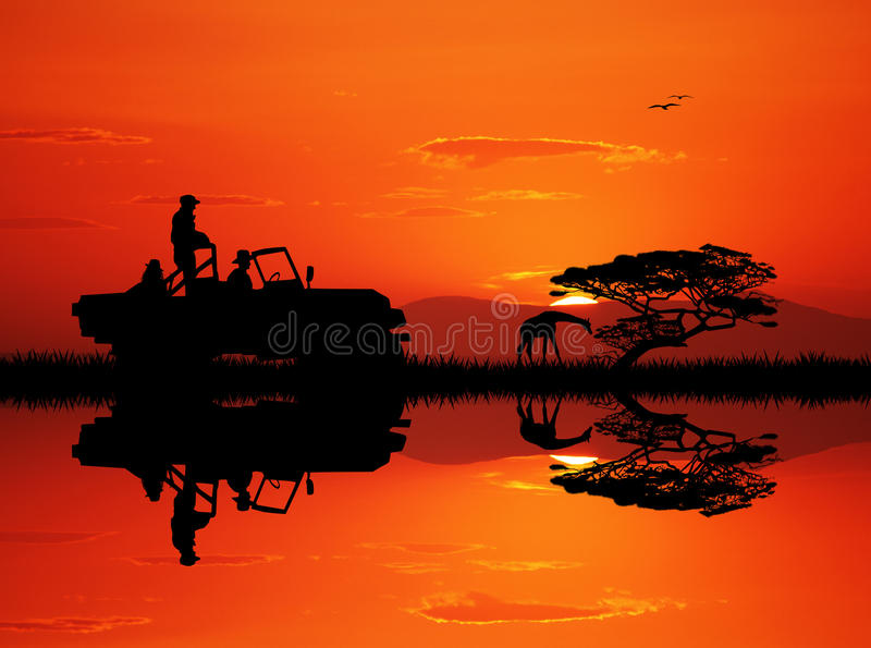 Safari della jeep al tramonto illustrazione vettoriale