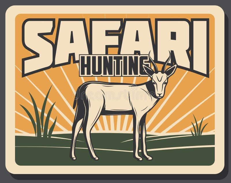 Safari, die Retro- Fahne mit afrikanischem Tier jagt lizenzfreie abbildung
