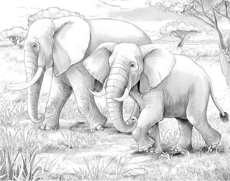 Safari - Elefanten lizenzfreie abbildung