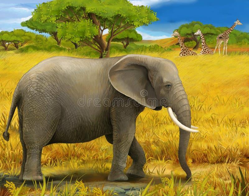 Safari - Elefanten - Illustration für die Kinder lizenzfreie abbildung
