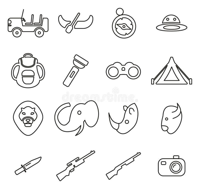 Safari- eller jaktsymboler gör linjen vektorillustrationuppsättning tunnare royaltyfri illustrationer