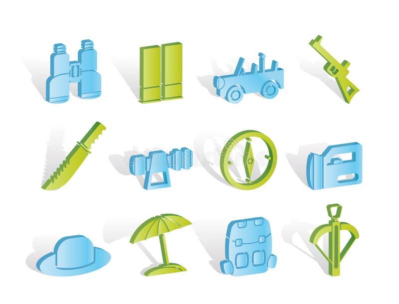 safari för feriejaktsymboler stock illustrationer