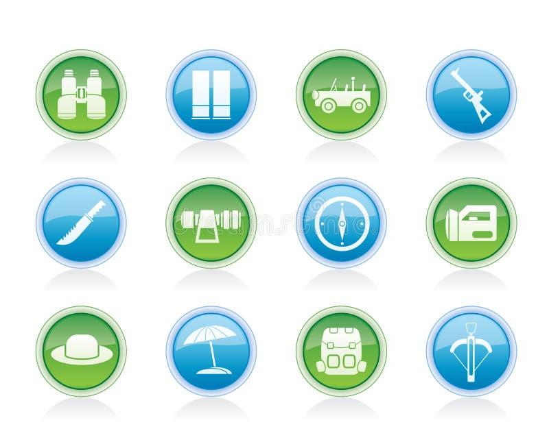 safari för feriejaktsymboler vektor illustrationer