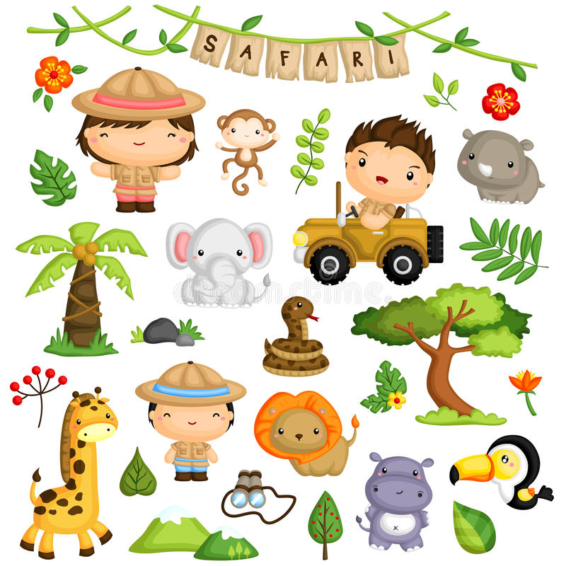 Free Safari Forest Kids And Animal Vector Set Royalty Free Stock Photography - 65336207