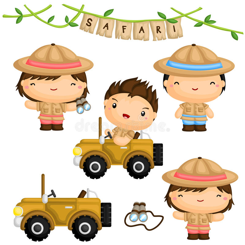 Safari Forest Kids Vector Set stock abbildung