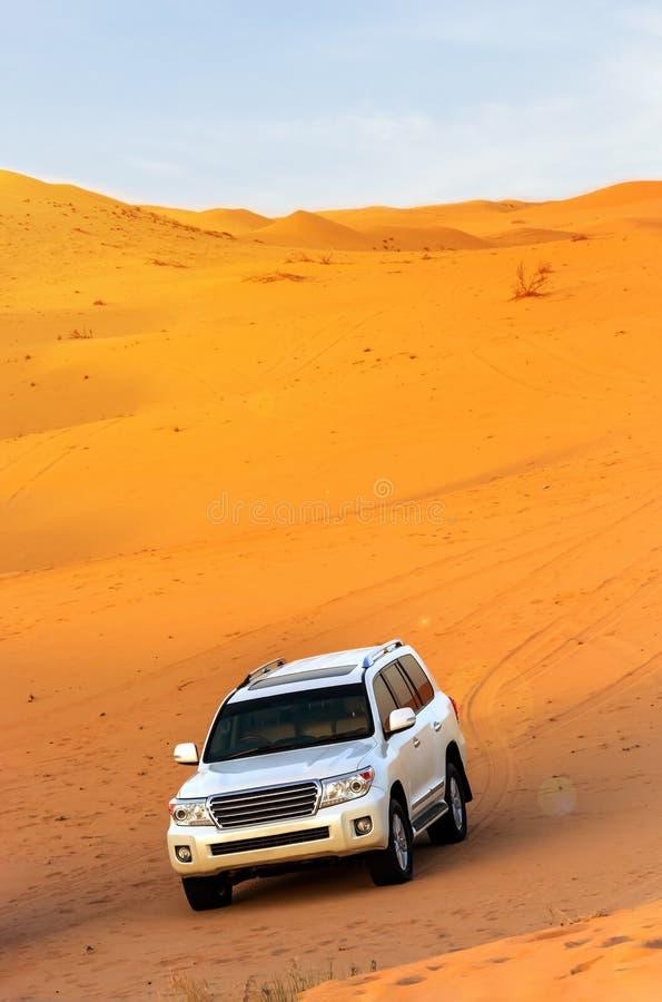 Safari fuori strada del deserto arabo nel Dubai, UAE Colpire della duna fotografia stock libera da diritti
