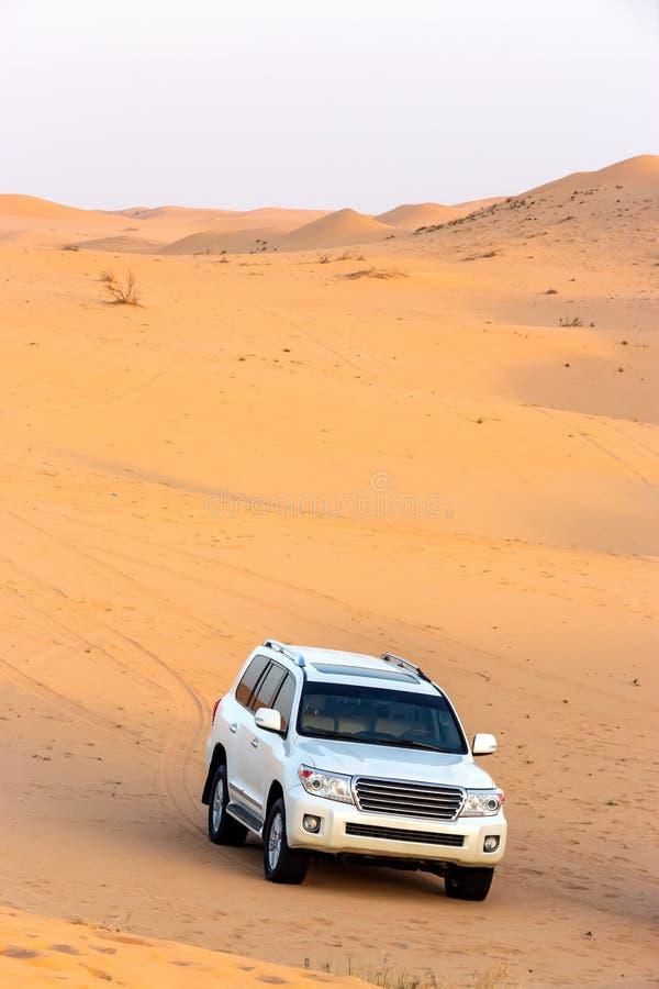 Safari fuori strada del deserto arabo nel Dubai, UAE Colpire della duna immagine stock libera da diritti