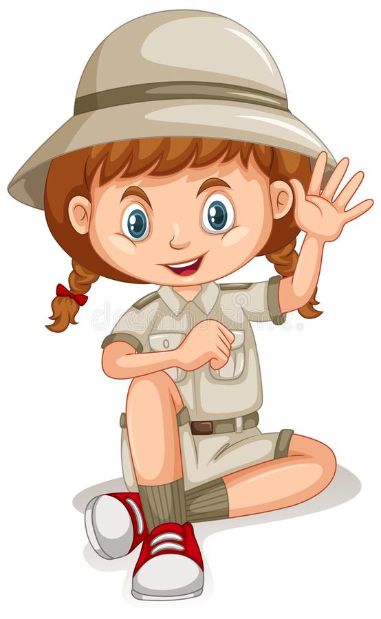 Safari Girl op Witte Achtergrond stock illustratie