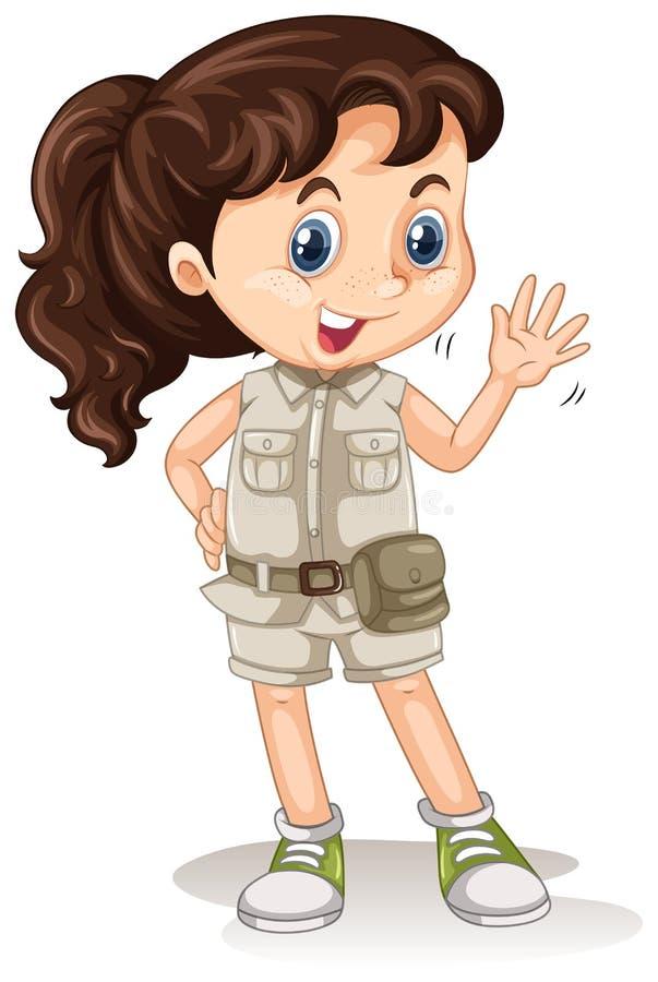 Safari Girl op Witte Achtergrond vector illustratie