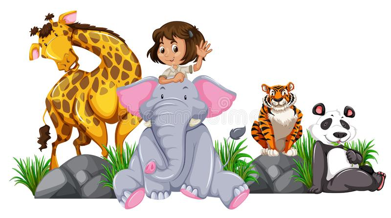 Safari girl with wild animals royalty free illustration