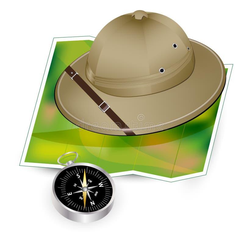 Safari hat, map and compass vector illustration