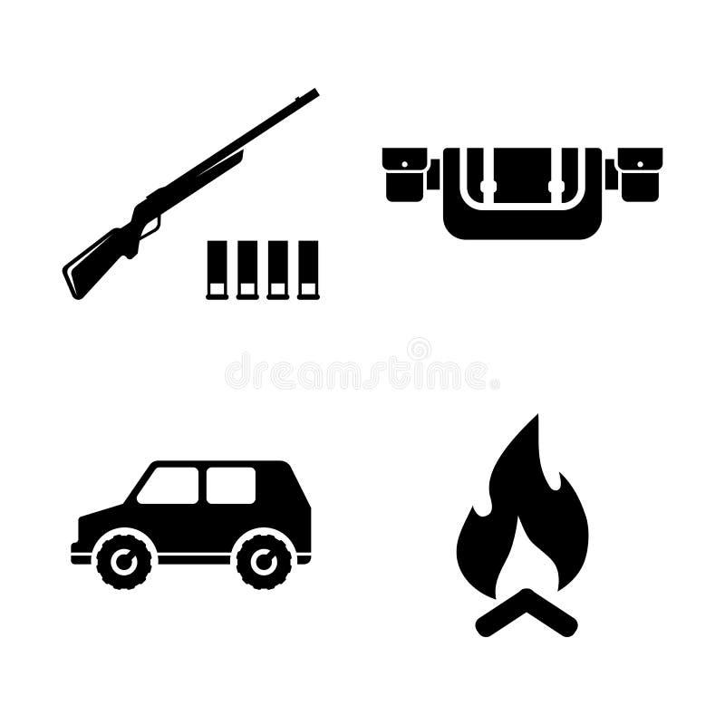 Safari Hunting Enkla släkta vektorsymboler stock illustrationer