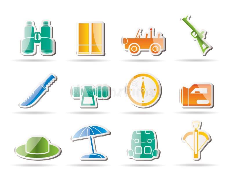 Safari, hunting and holiday icons stock illustration