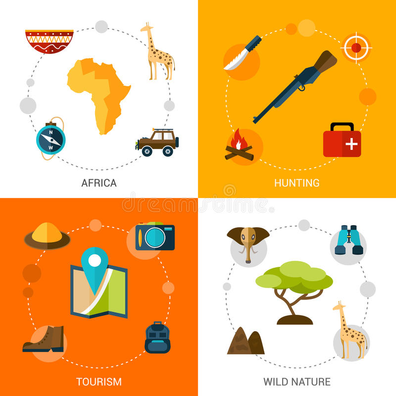 Safari Icons Set stock illustrationer