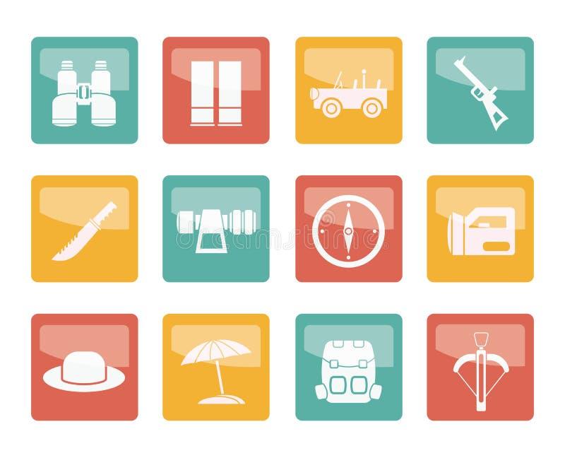 Safari-, jakt- och feriesymboler över kulör bakgrund stock illustrationer