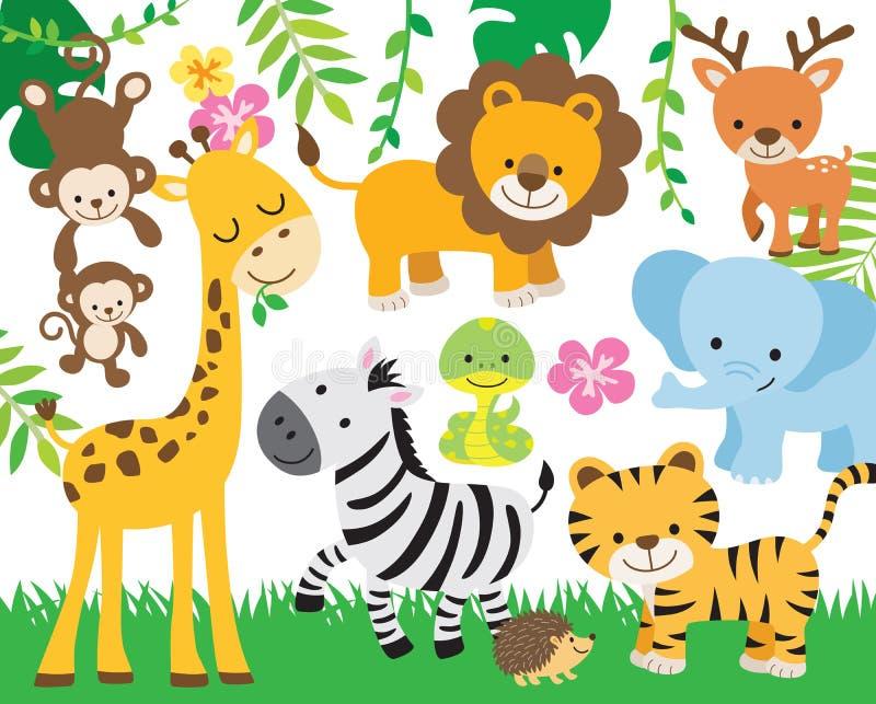 Safari Jungle Animal Vector Illustration. Vector illustration of cute safari animals including lion, tiger, elephant, monkey, zebra, giraffe, deer, snake, and royalty free illustration
