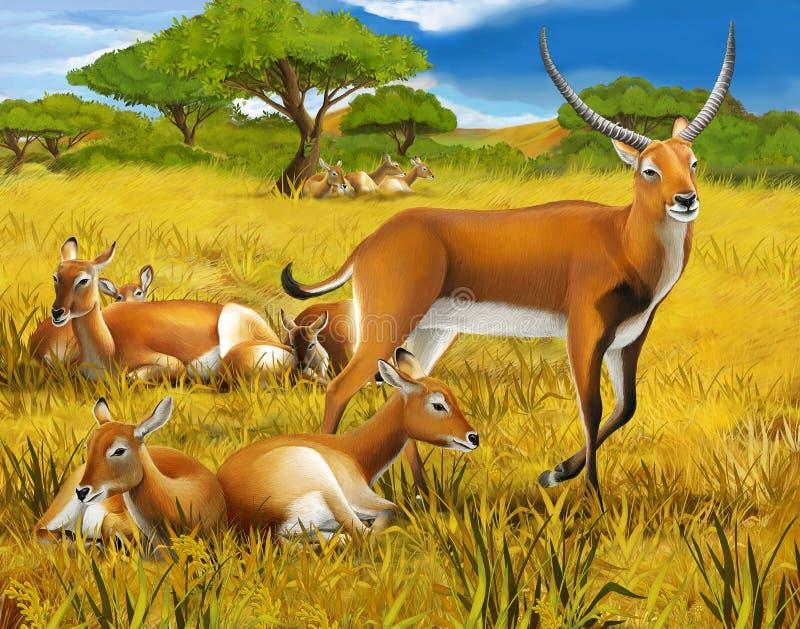 Safari - kobalitchi - kleurende pagina - illustratie voor de kinderen royalty-vrije illustratie