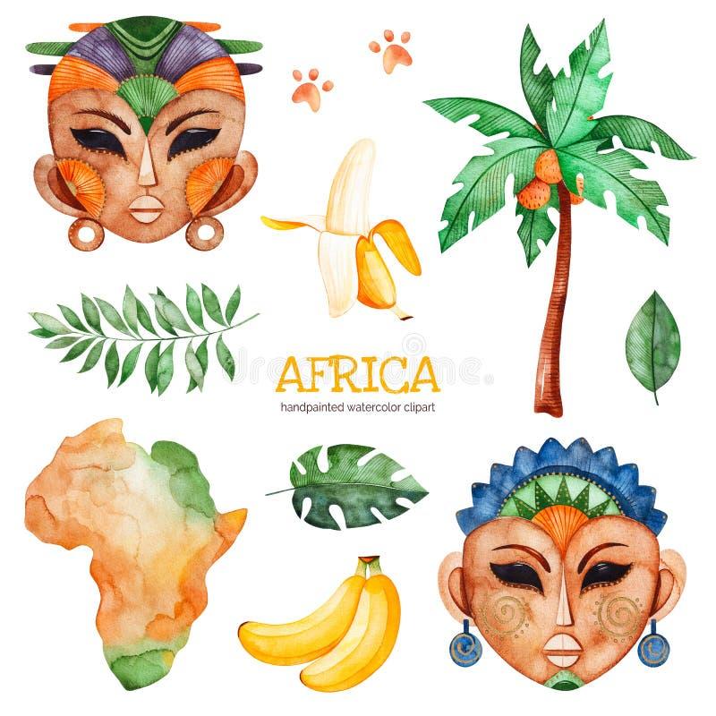 Safari kolekcja z drzewkiem palmowym, banan, afrykańska kobieta, mężczyzna maski ilustracji