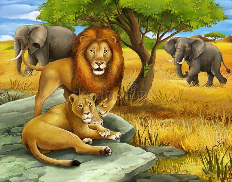 Safari - Löwen und Elefanten lizenzfreie abbildung