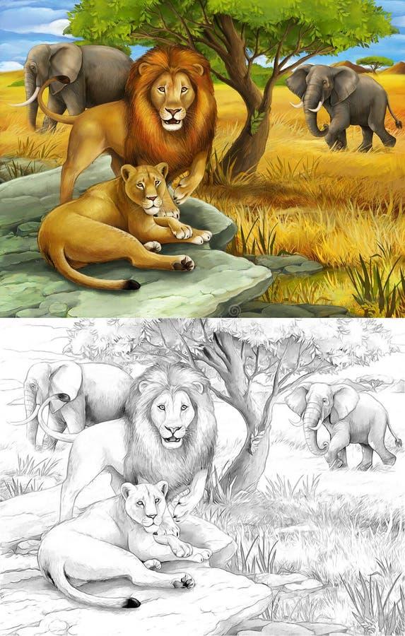 Safari - leões e elefantes ilustração do vetor