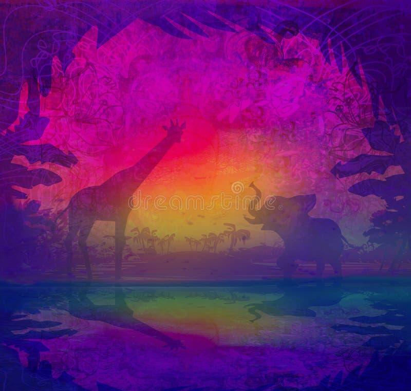 Safari na silhueta de África da reflexão dos animais selvagens na água ilustração stock