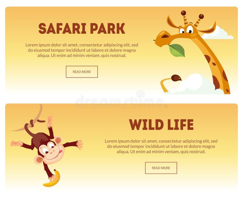 Safari park, Dzikiego życia Horyzontalni sztandary Ustawiający, Dziki Afrykański natura krajobraz z zwierzę wektoru ilustracją royalty ilustracja