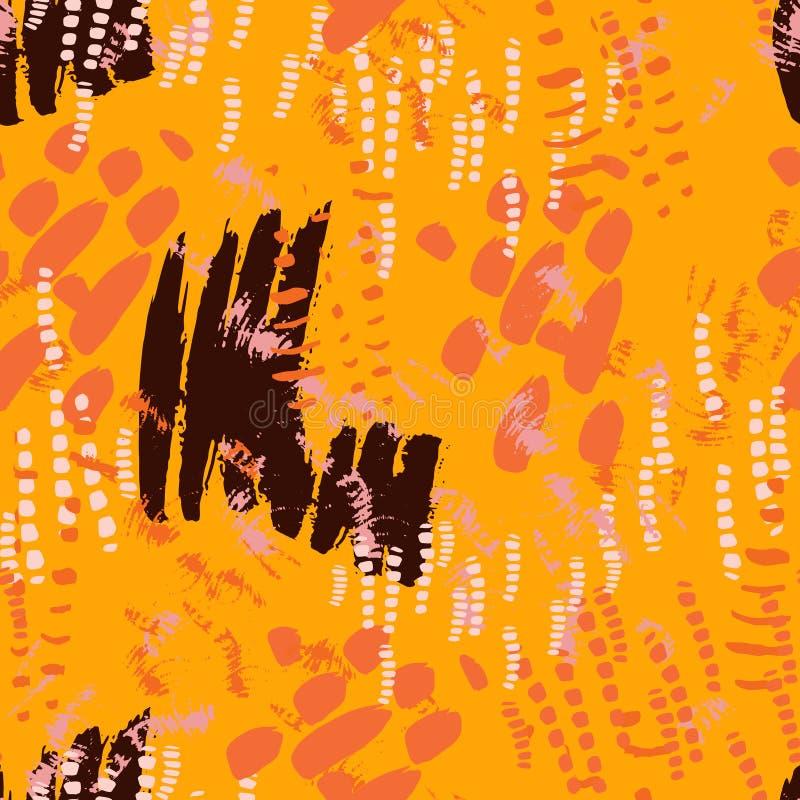 Orange Striped Safari Glitch Background Stock Vector
