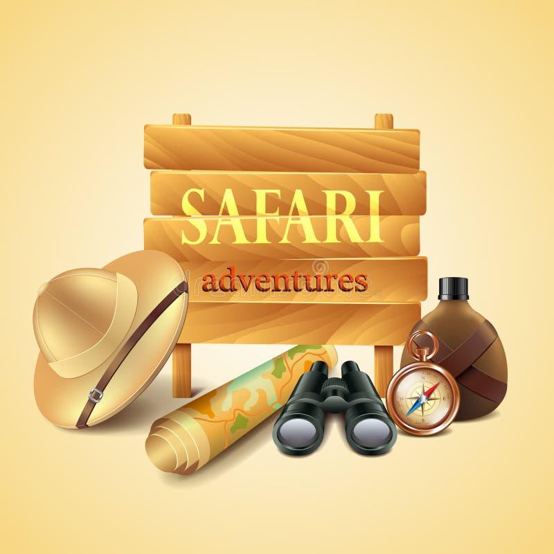 Safari podróży akcesoriów wektoru tło