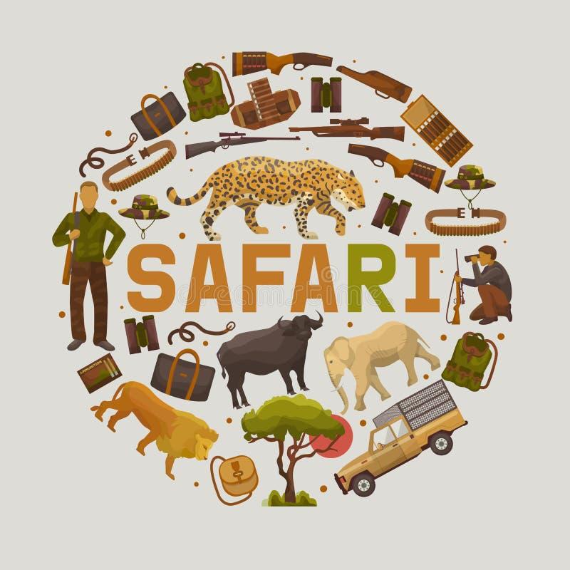 Safari que caça o grupo de ilustração redonda do vetor dos testes padrões Camufle o chapéu, arma com escudos, bandolier, faca, co ilustração stock