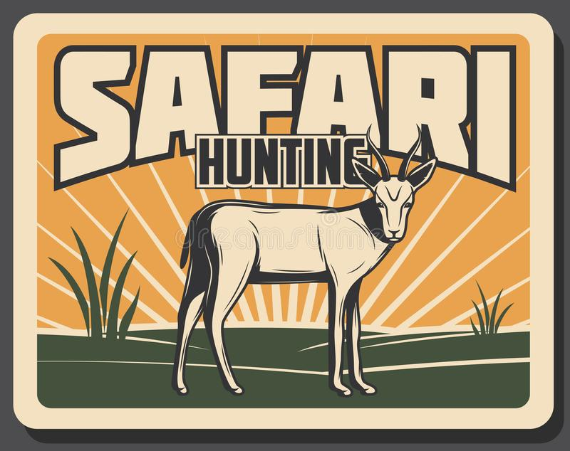 Safari que caza la bandera retra con el animal africano libre illustration