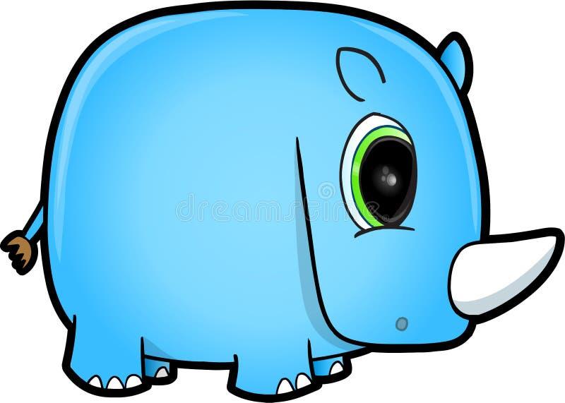 Safari Rhino azul linda ilustración del vector