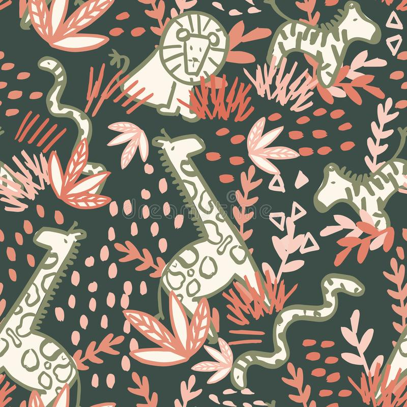 Safari seamless repeat pattern design. Perfect for kids, textile and homeware vector illustration