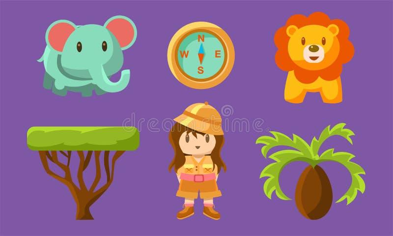 Safari Symbols Set, animais africanos bonitos, árvores e menina em Safari Outfit Vetora Illustration ilustração stock