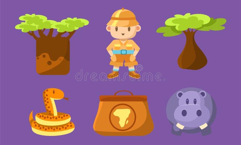 Safari Symbols Set, animais africanos bonitos, árvores e menino em Safari Outfit Vetora Illustration ilustração royalty free