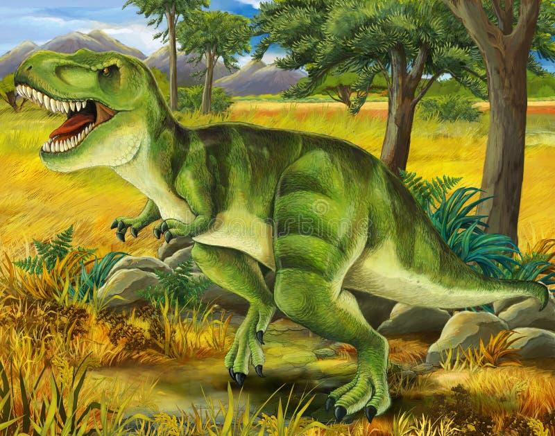 Safari - t-rex - página da coloração - ilustração para as crianças ilustração stock
