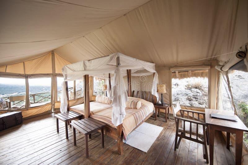 Safari Tent Uganda de lujo foto de archivo libre de regalías