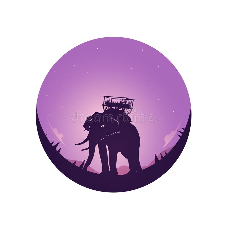 Safari theme Elephants Full moon and night sky. Perfect background design for headline and sale banner stock illustration