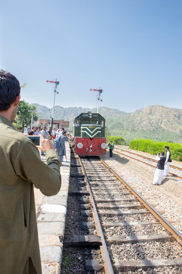 Safari train coming bag travel to Peshawar from Attack and same. Swabi, PAKISTAN - Sept 27: Safari train coming bag travel to Peshawar from Attack and same Young royalty free stock photo