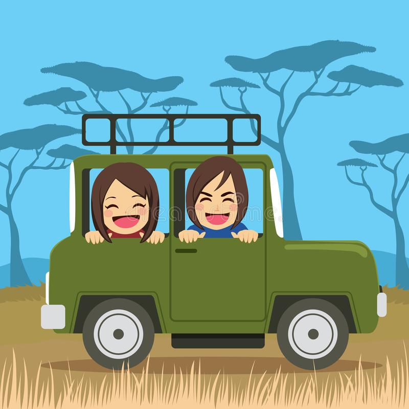 Safari Travel Couple stock illustrationer