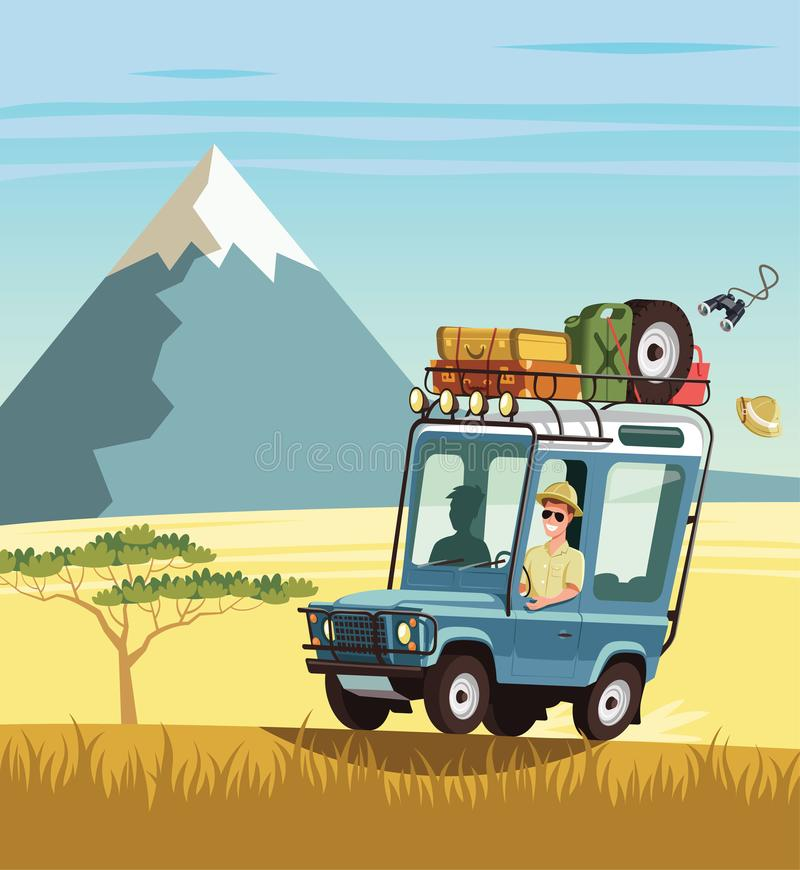 Safari truck in African savannah vector illustration