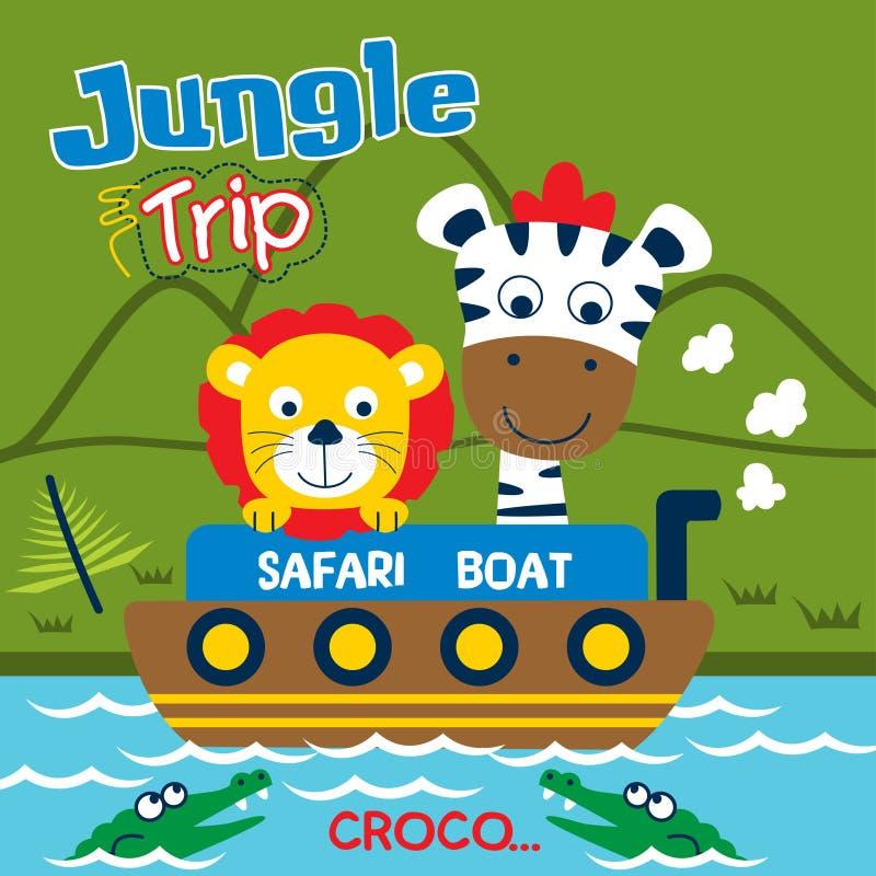 Safari wycieczka z lwa i zebry śmieszną kreskówką, wektorowa ilustracja ilustracji
