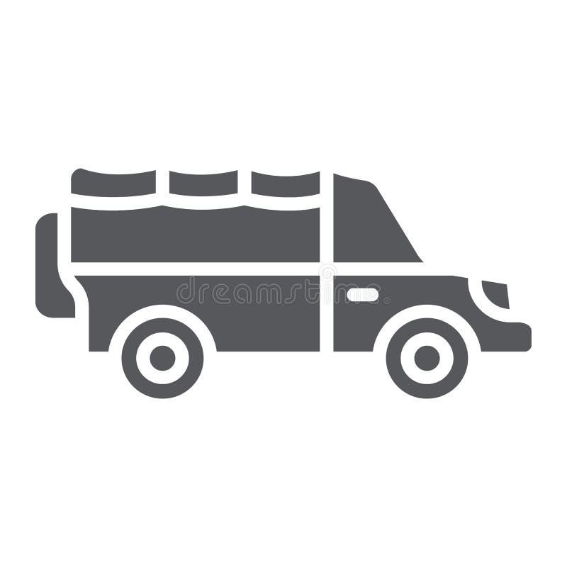 Safariauto Glyphikone, Transport und Auto, suv Zeichen, Vektorgrafik, ein festes Muster auf einem weißen Hintergrund stock abbildung