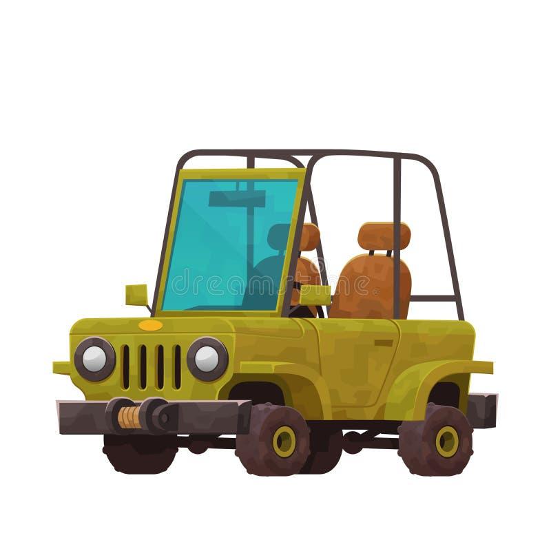 Safaribil i tecknad filmstil som isoleras på vit bakgrund royaltyfri illustrationer