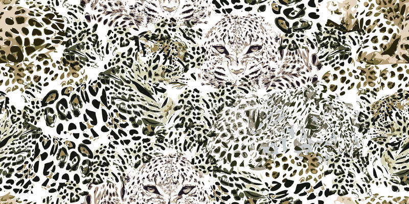 Safaridrömmar Grungebakgrund med leopardfläckar stock illustrationer